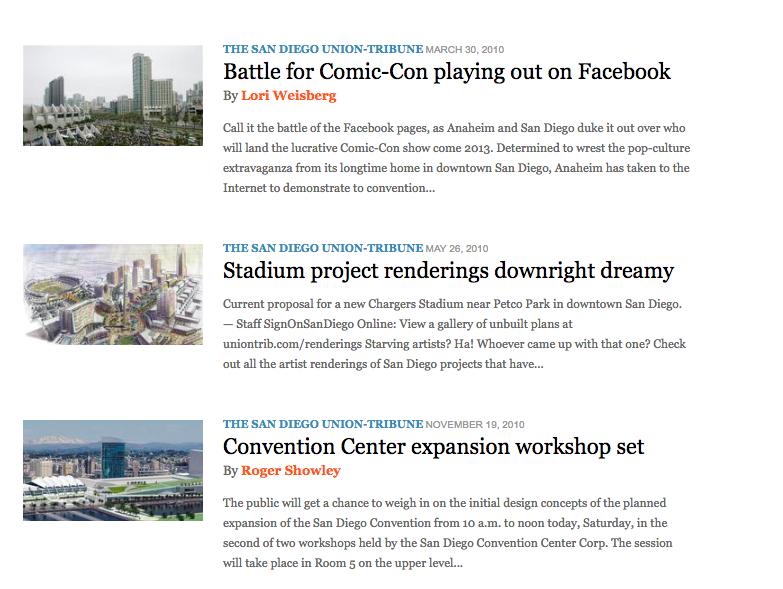 News Articles Print & Digital | SD Union Tribune
