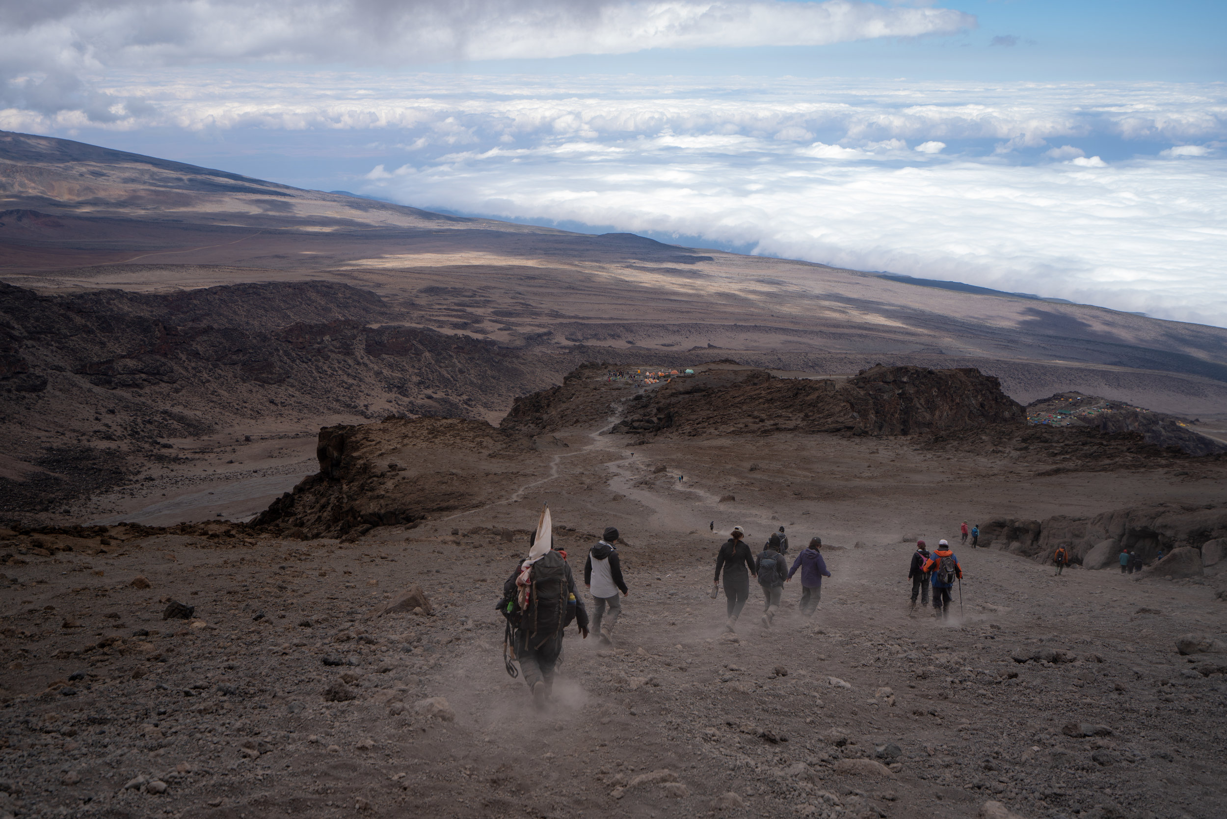 Coming down Stella Point to Barafu Camp. Notice all the dust from the terrible trail I talk about!