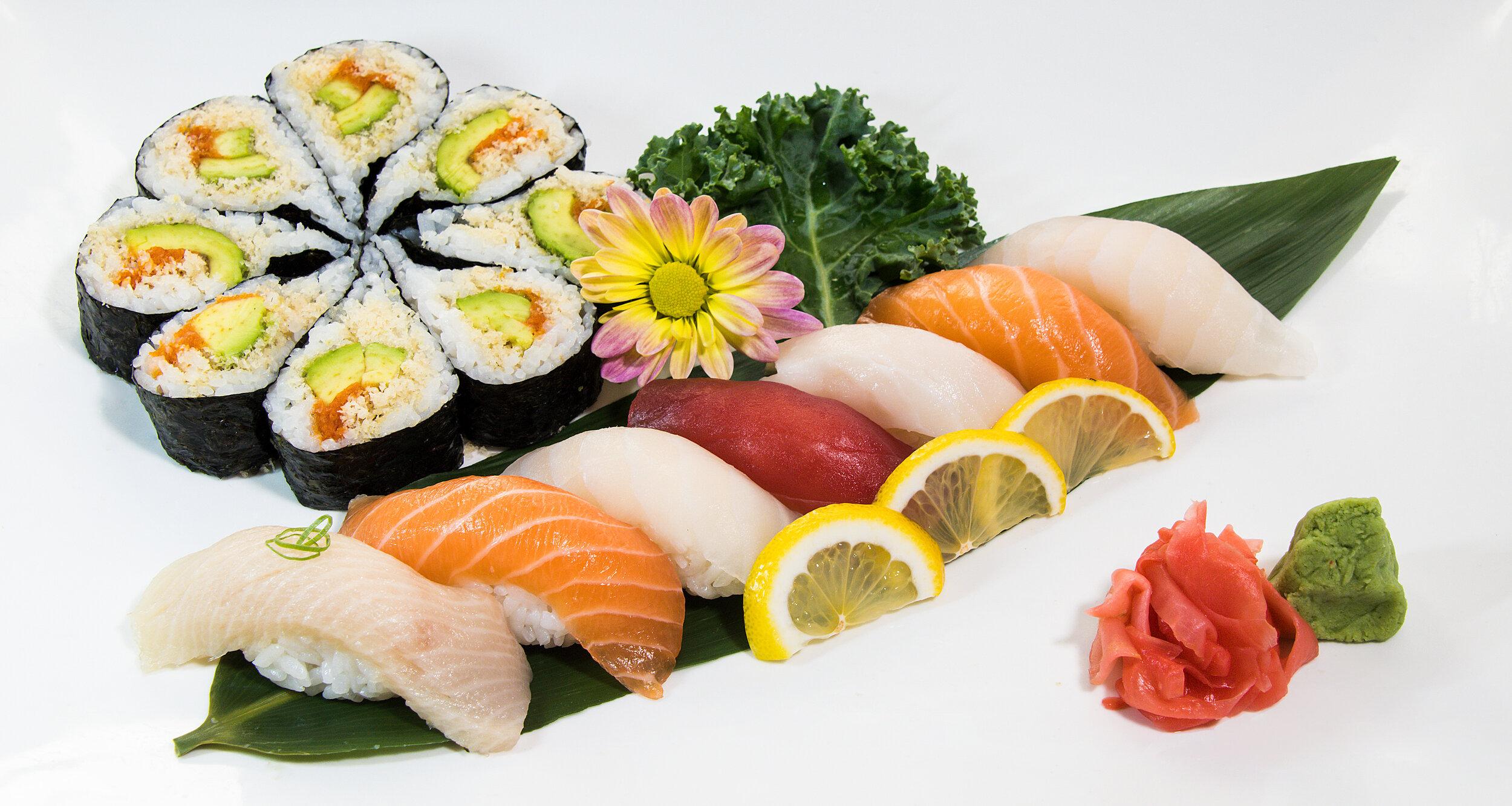 Hamachi Tuna (1), White Tuna (2), Salmon (2) Snapper (2) & Kamikaze (8) 15 pcs