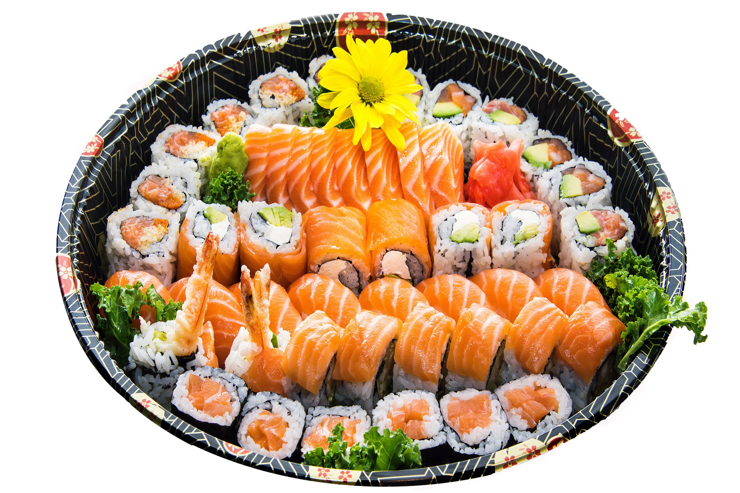 Party Tray A6    Sushi (8) Sashimi (8) Red Dragon (8) Salmon Roll (6) Spicy Salmon (6) Salmon Avocado Roll (6) Cream Cheese Salmon Roll (6)
