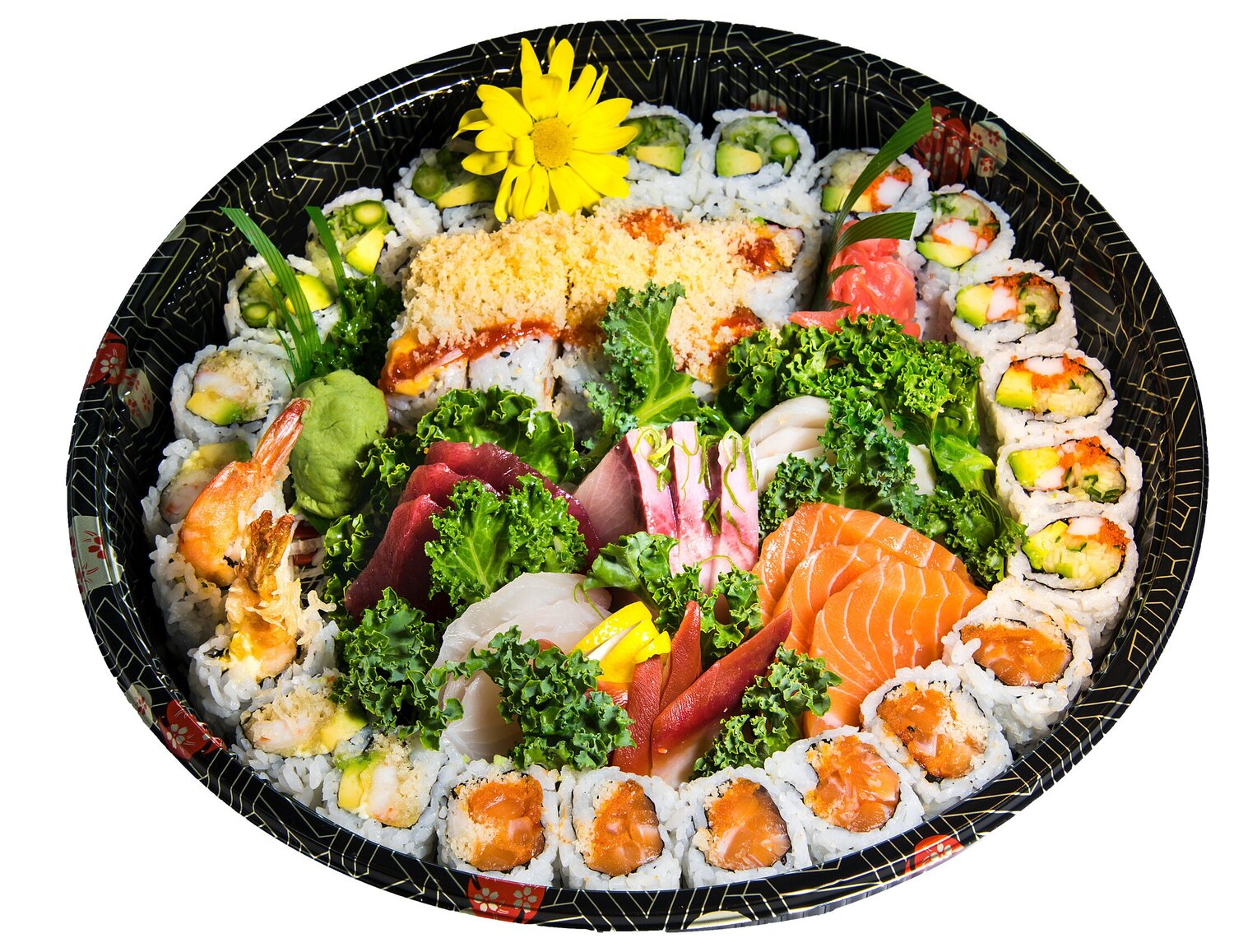 Party Tray (A2)   Sashimi (18) Dynamite Roll (6)  Spicy Salmon Roll (6) California Roll (6)  CAA Roll (6) Volcano (8)