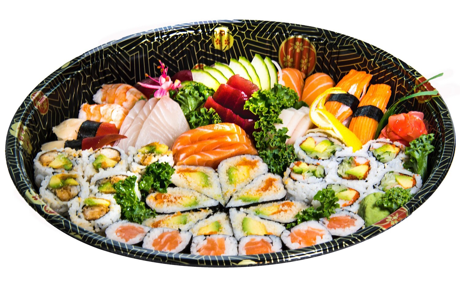 Party Tray A    Sushi (12) Kamikazie (8) Sashimi (12) Rock & Roll (6)  Salmon Roll (6) California Roll (6)