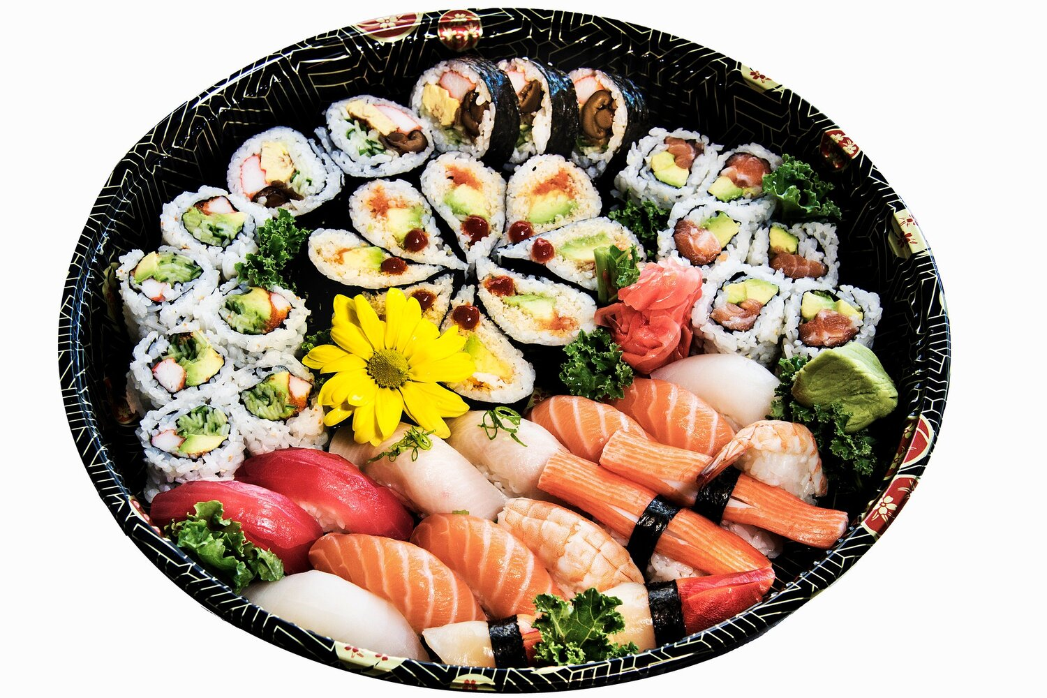Party Tray A3    Sushi (16) Kamikaze Roll (8)    California (6) Futomaki (4)    Salmon Avocado Roll (6)