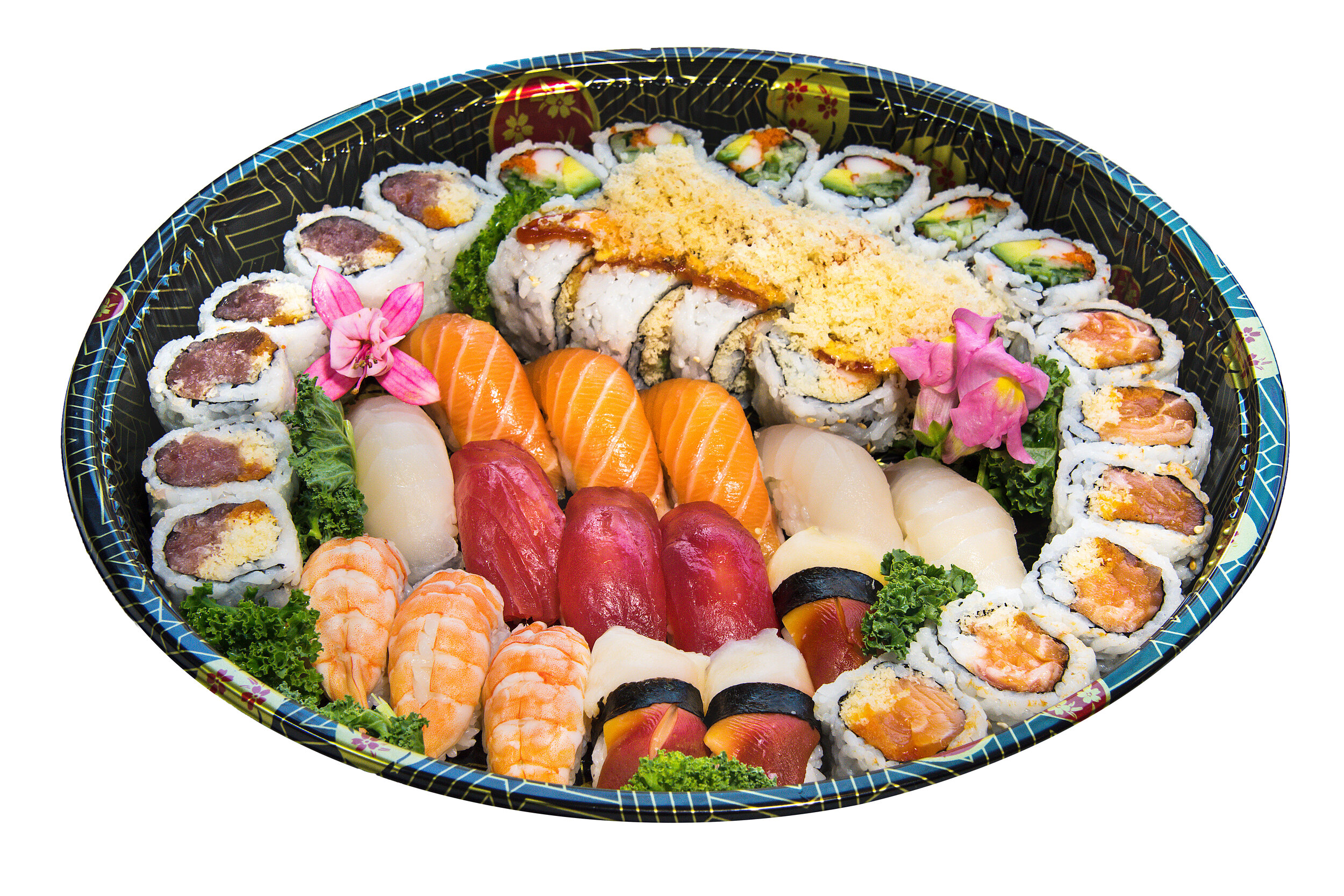 Party Tray A5 Sushi + Rolls    Sushi (15) Volcano Roll (8) Spicy Salmon Roll (6) Spicy Tuna Roll (6) California (6)