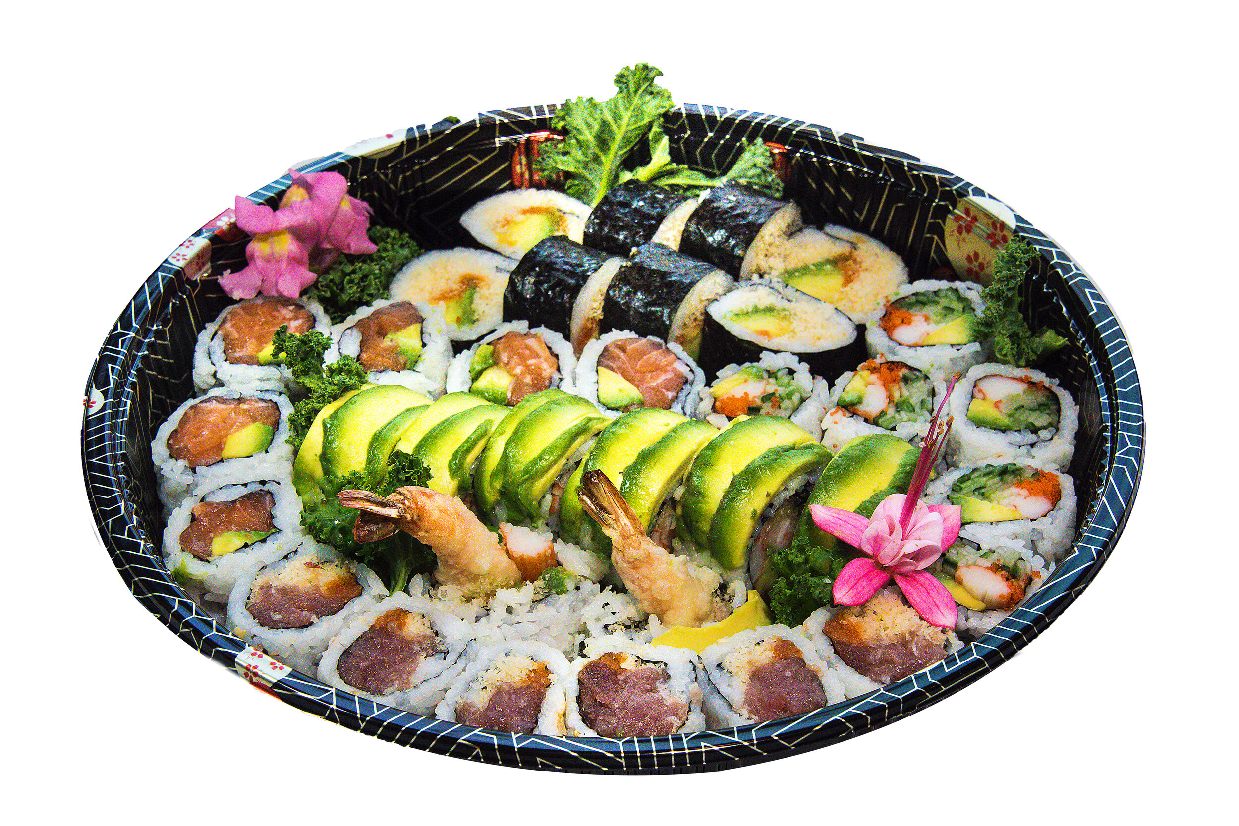 A7 Maki Tray    Green Dragon (8) Spicy Tuna (6) Salmon Avocado (6) California (6) Kamikaze (8 )