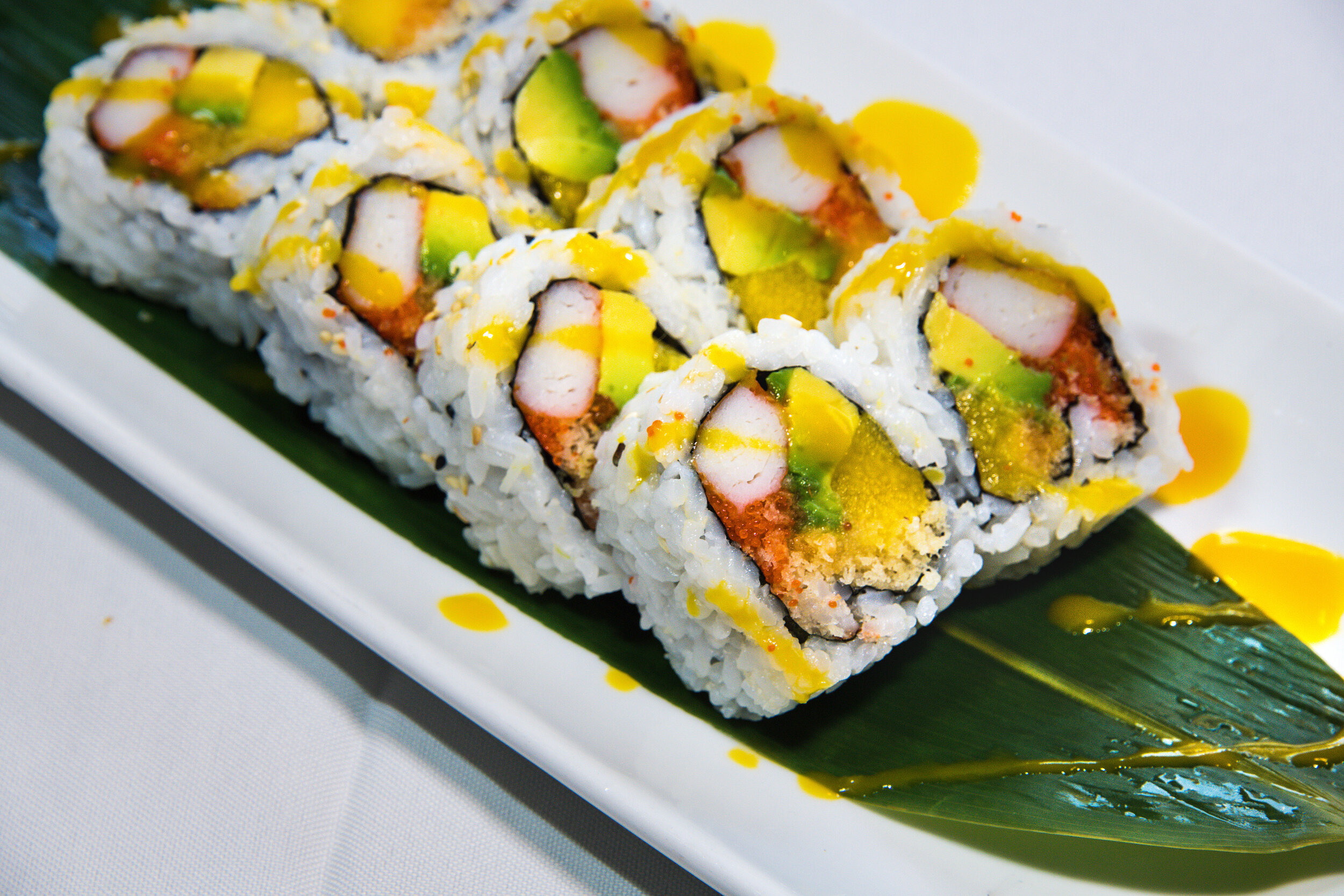 Crispy Thai Roll (8) $9.99 Crab, Fish Eggs, Mango, Avocado, Spicy Mayo & Mango Sauce.