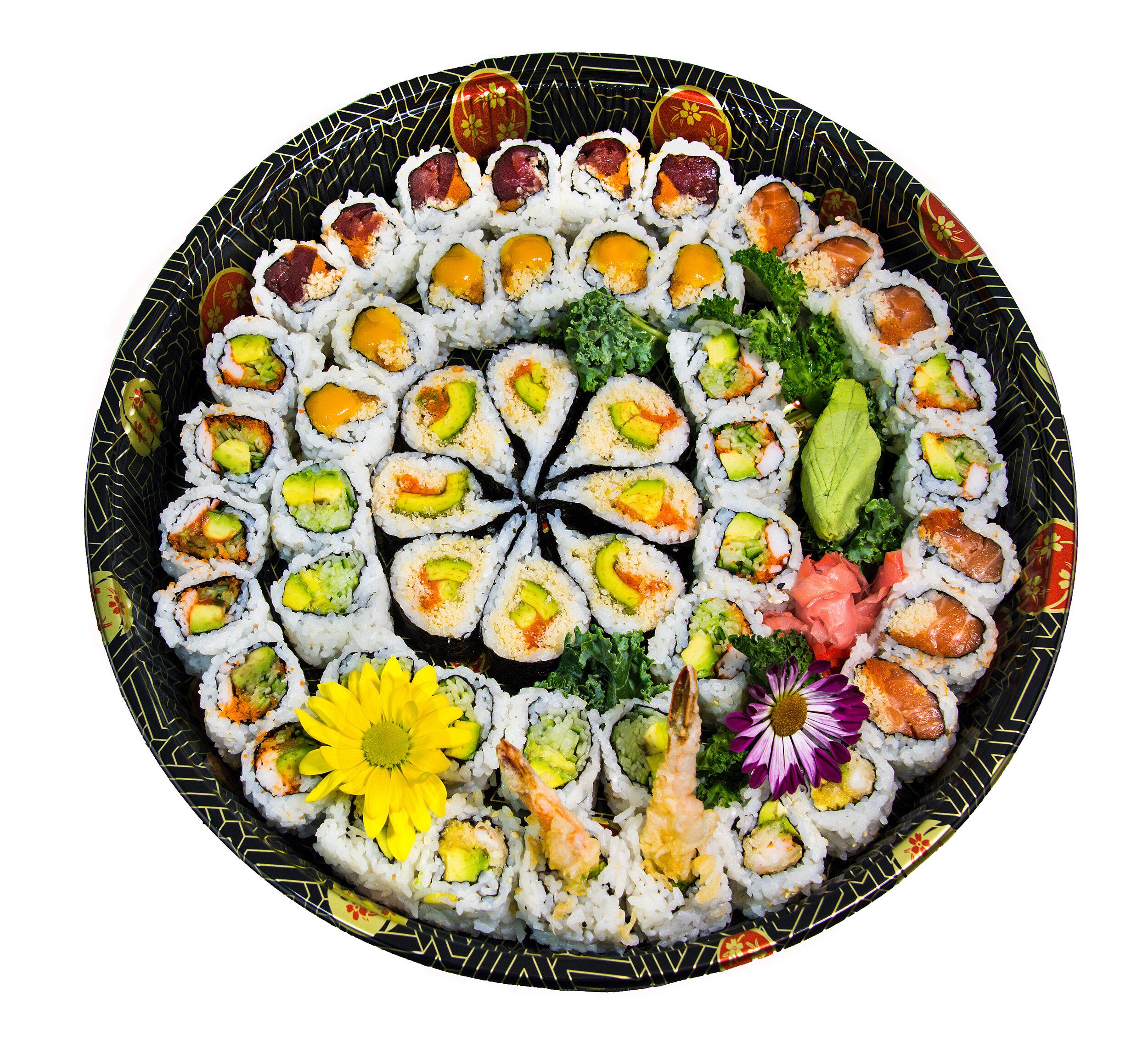 A9 Maki Tray (Large)    Spicy Salmon (6) Spicy Tuna (6) Kamikaze Roll (8) Dynamite (6) California (12) Mango Crispy (6) Cucumber Avocado (6)