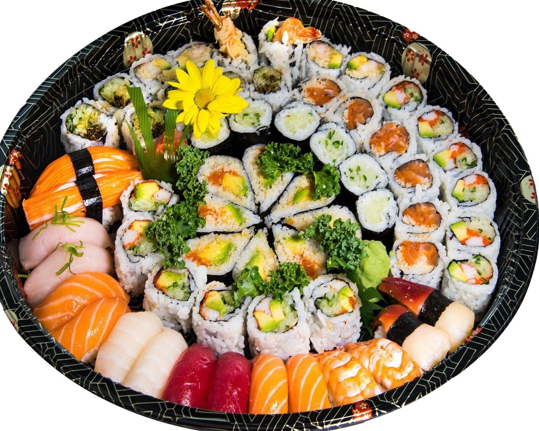 Party Tray A1 Sushi + Rolls    Sushi (16) Kamikazie (8)    Dynamite (6) Spicy Salmon (6)    California (12) Salmon Skin (6)    Cucumber (6)