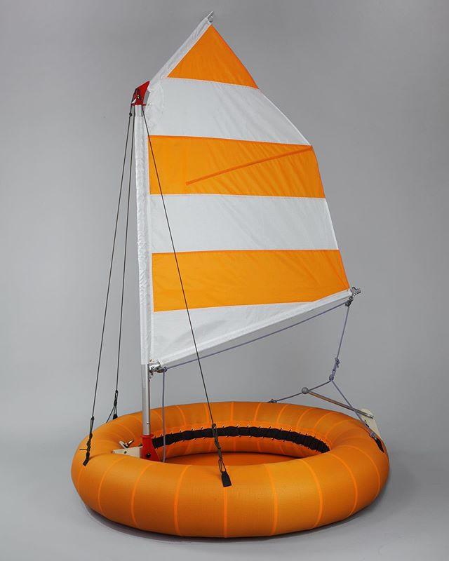 Dingey Ringey. Rubber inner tube, aluminium, nylon ripstop fabric, rope. 120cm diameter. . . #dingeyringey #dingey #ringey #dinghysailing #christophemachet #dinghy #ring #float #inflatables #beachy #orange #innertube #sailmaking #productdesign #toy #madeinfrance #holidays #toomuchsparetime