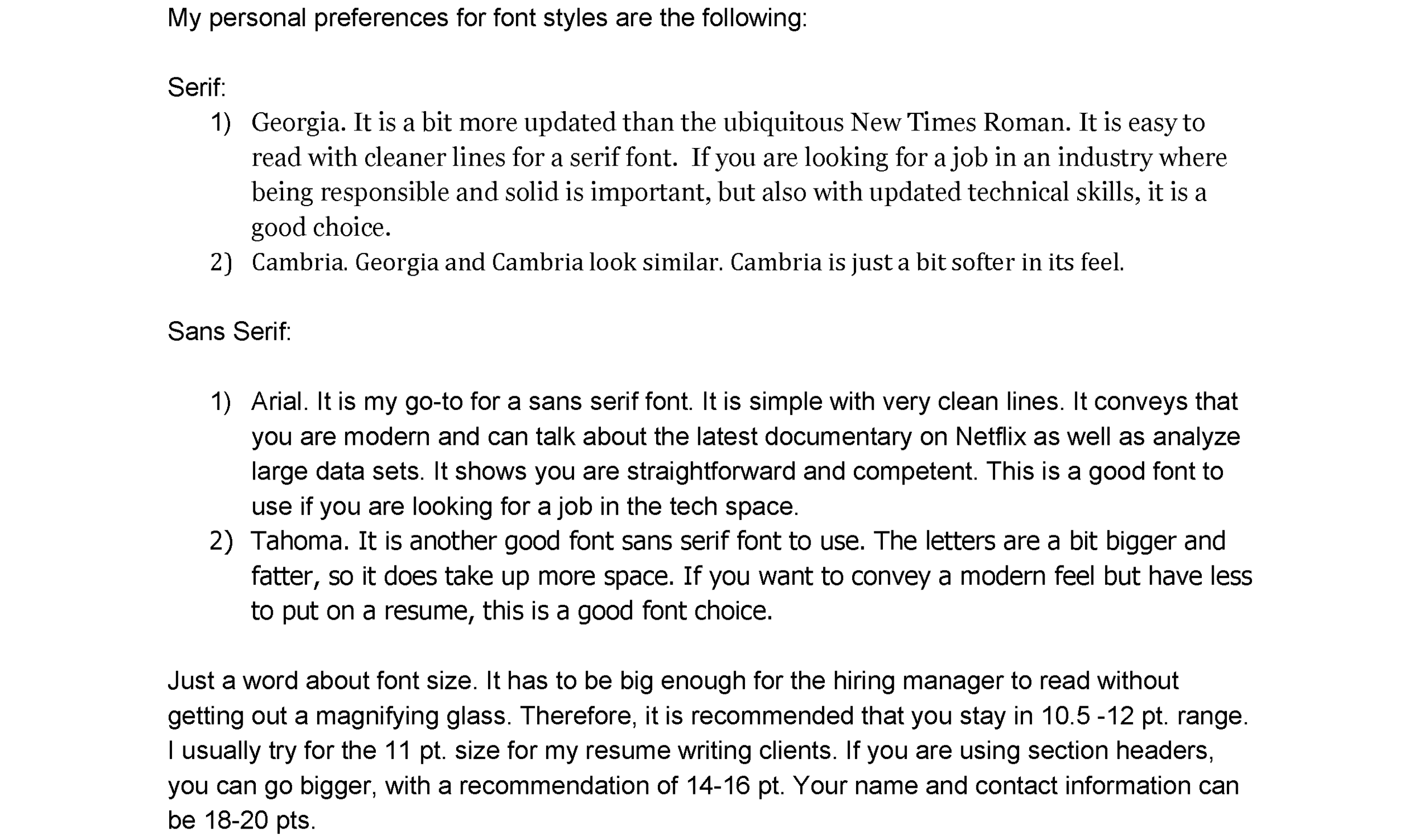 Which font is best for a resume? — Shelley Piedmont - Resume