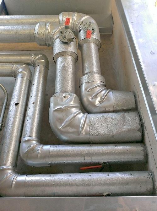 Ductwork with damper valves.