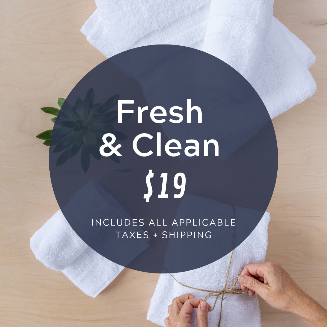 Social Media Post Sample Copy:  Here's some serious bang for your buck! Provide a client with a bath towel, hand towel, washcloth and bath mat for just $19! Now through the end of the month, via our campaign with @cocobundleco.  https://cocobundle.co/bundles-3rd-street/fresh-and-clean