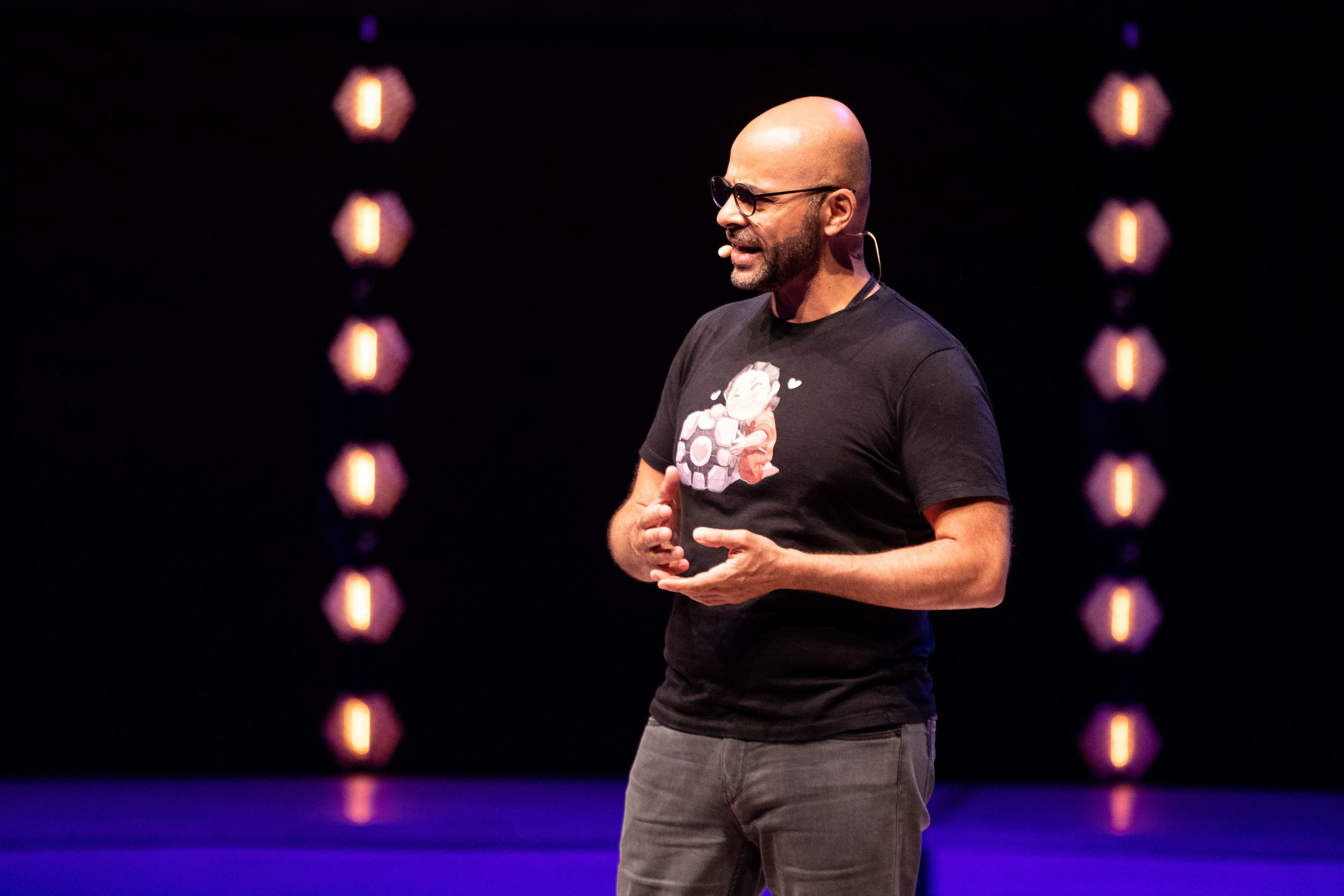Mo Gawdat, former Chief Business Officer of Google X, speaks on stage at the Boma France Festival. Credit:  Boma France
