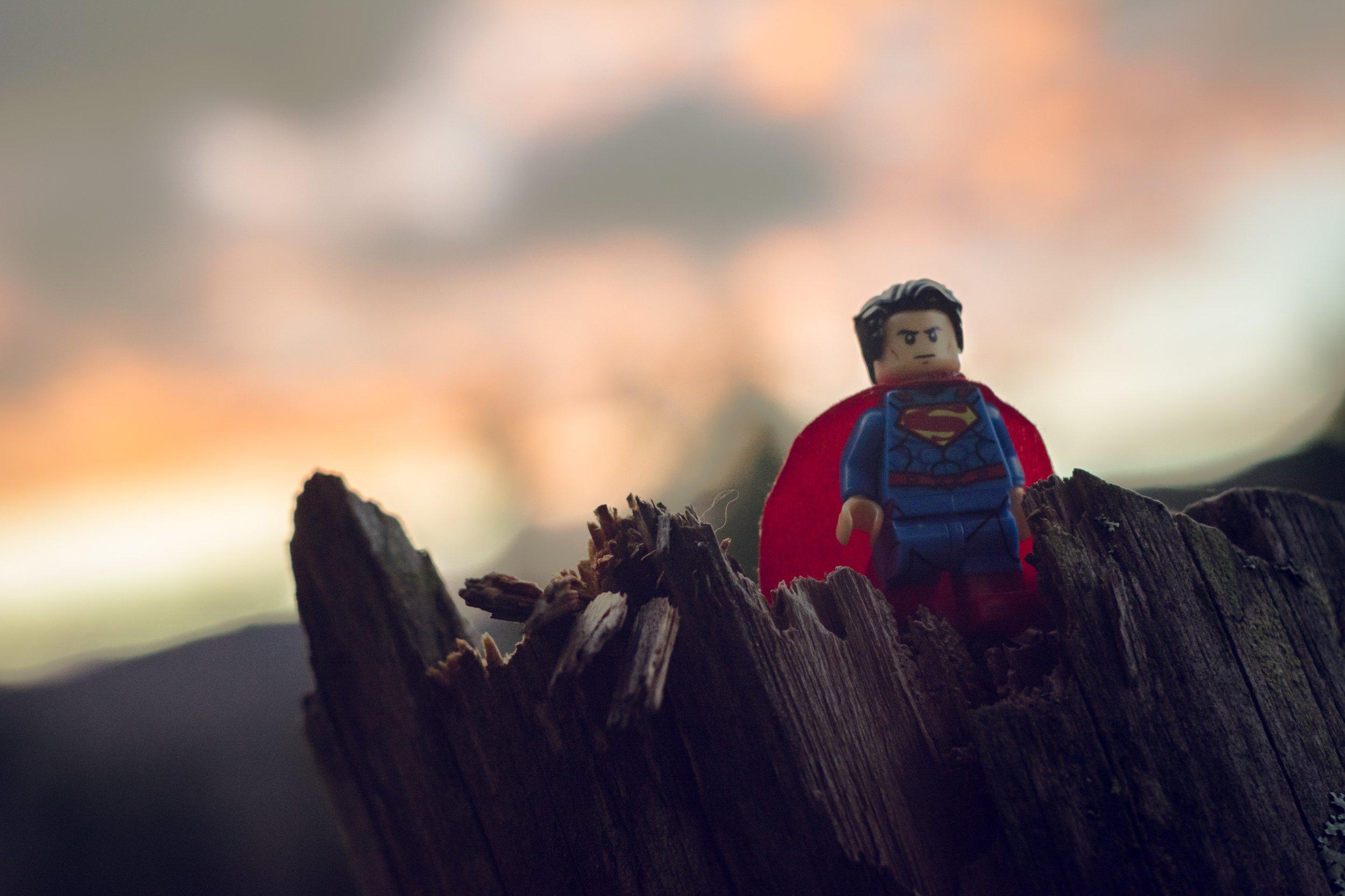 A small Superman action figure on a tree. Credit: Esteban Lopez/Unsplash