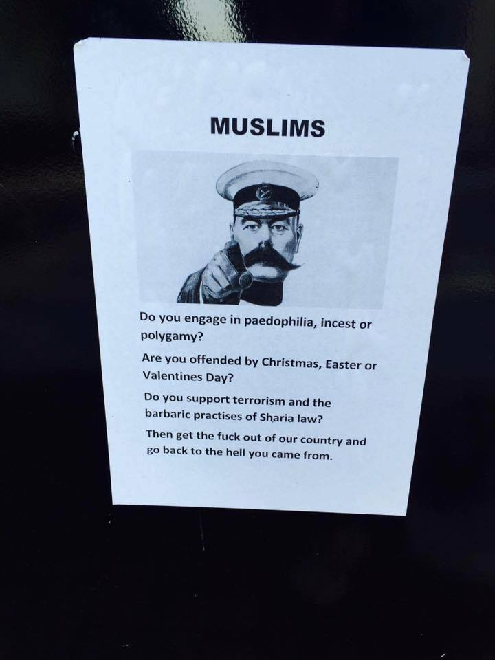 A racist poster discovered outside the Physics Building on May 22nd.