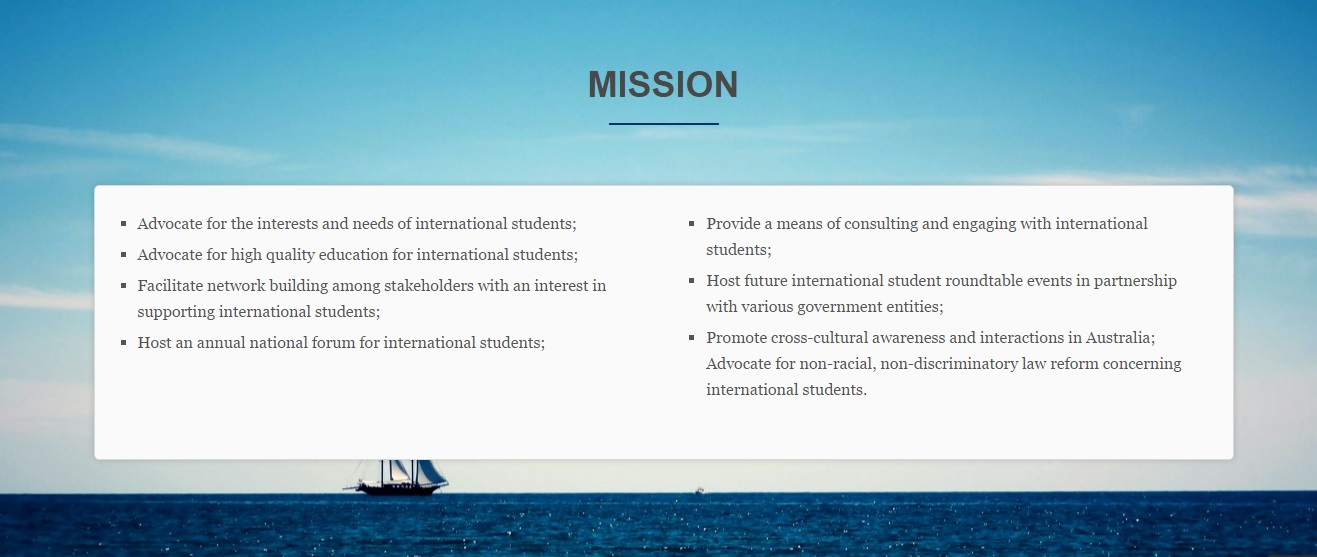 Council of International Students Australia Mission Statement. Photo source: CISA  website