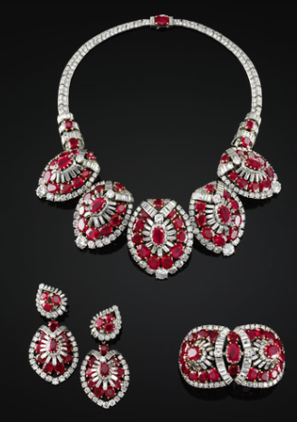 Necklace, bracelet and pari of earrings,1951.
