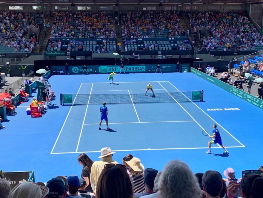 John Peers and Jordan Thompson serving against Bosnia and Herzegovina at the 2019 Davis Cup in Adelaide Source: Kiran Gupta