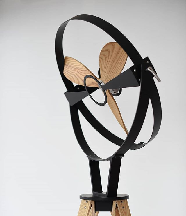 #Aura fan with natural Ash Blades and legs. #imafan #design #minimal #lessismore #woodworking #metalwork #furnituredesign #industrialdesign #din2018 #lambratedesigndistrict