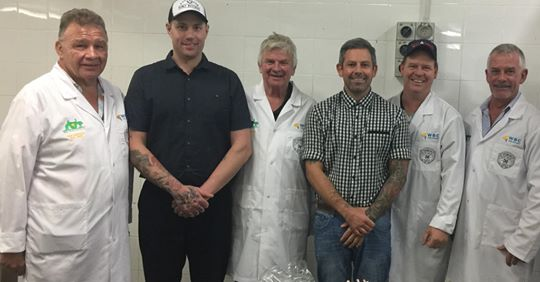New team members Daniel McCarthy (second left) and Dale Spencer (second right) with the judging panel - From Left: Bob Retallick, Trevor Saville, Adam Stratton and Doug Piper