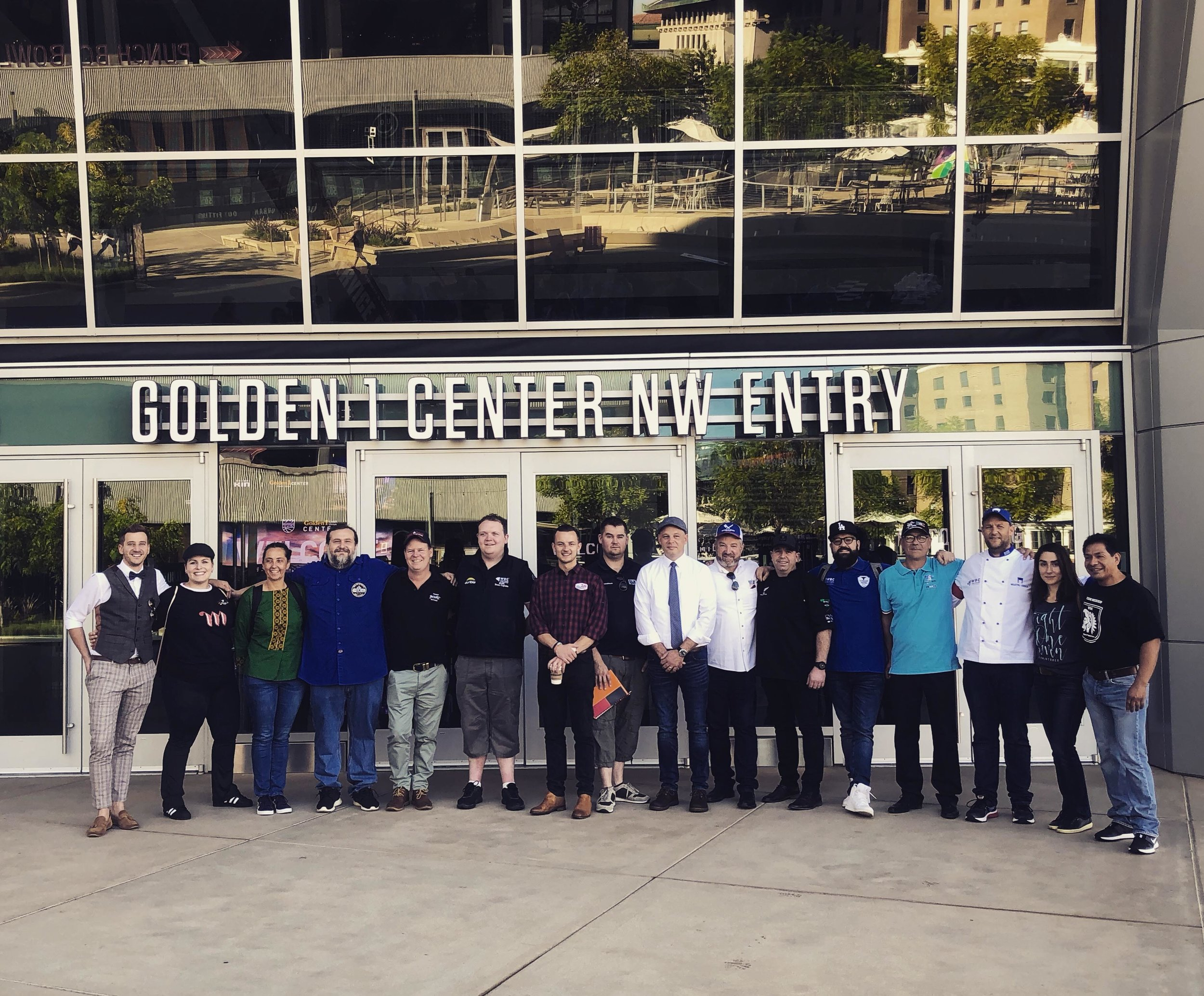 Team captains in front of the Golden 1 Center