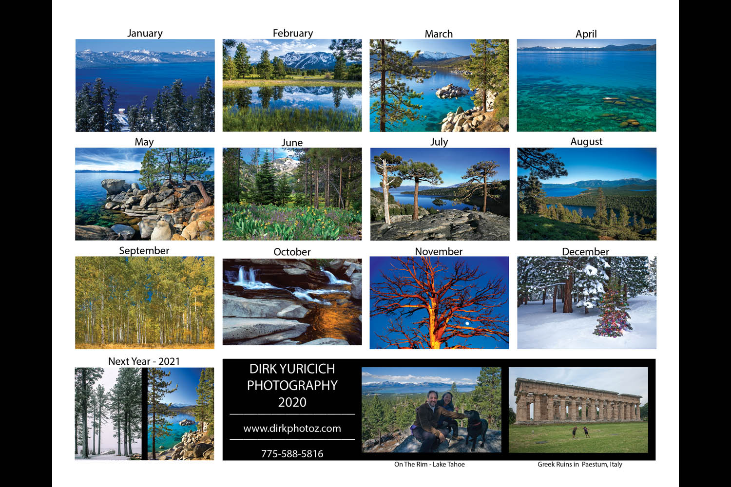The back cover of our 2020 Lake Tahoe Wall Calendar