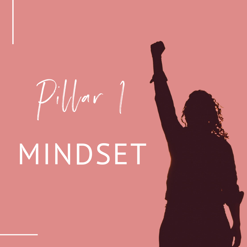 shadow of woman with fist in the air, text overlay 'Pillar 1 Mindset'_Lifestyle Design Strategist_miarmiller.com