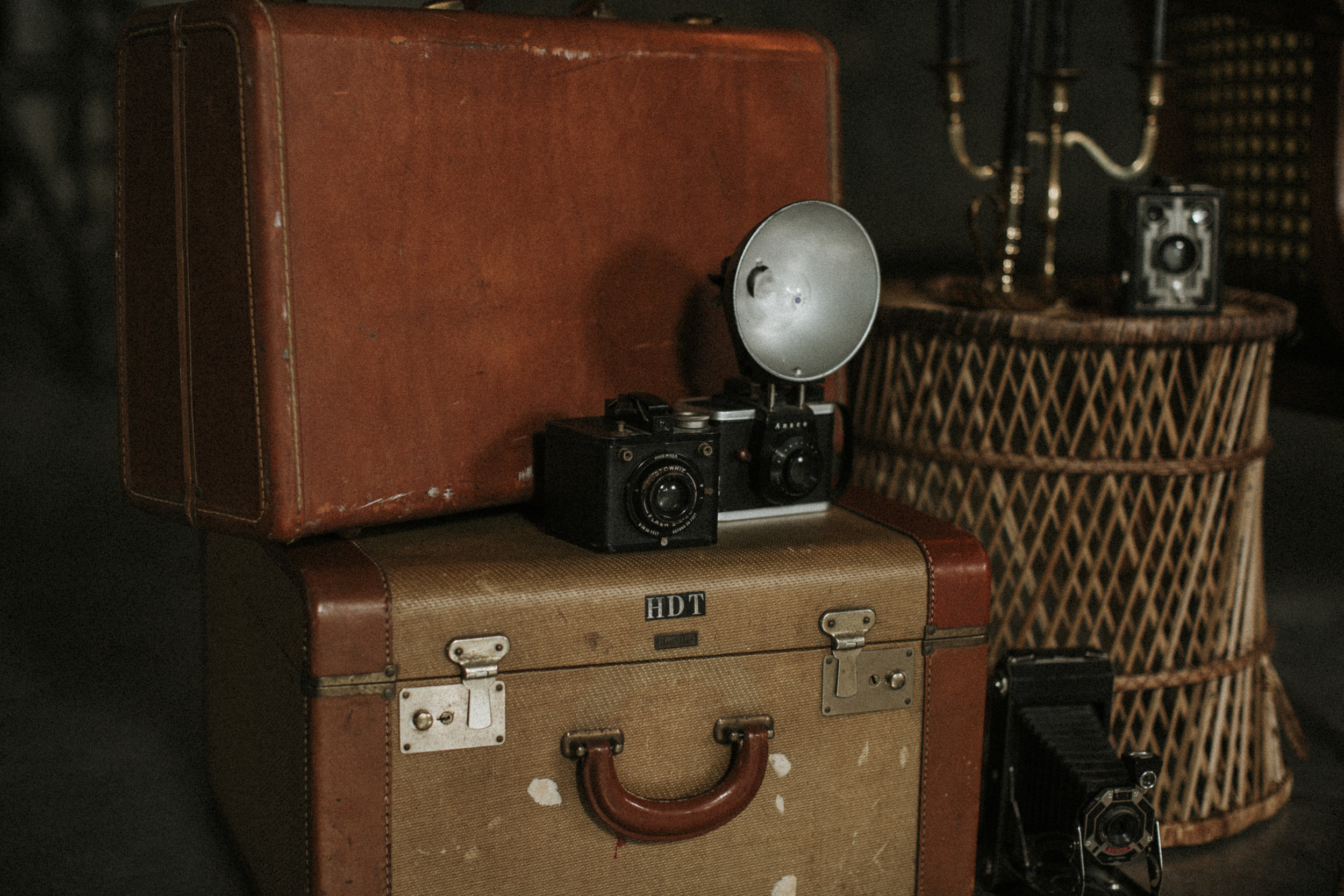 Accessories - Our vintage accessories are a great addition to photoshoots or wedding/shower decor. We have a variety of vintage suitcases, cameras, clocks, mirrors, baskets, crates, and the list goes on.