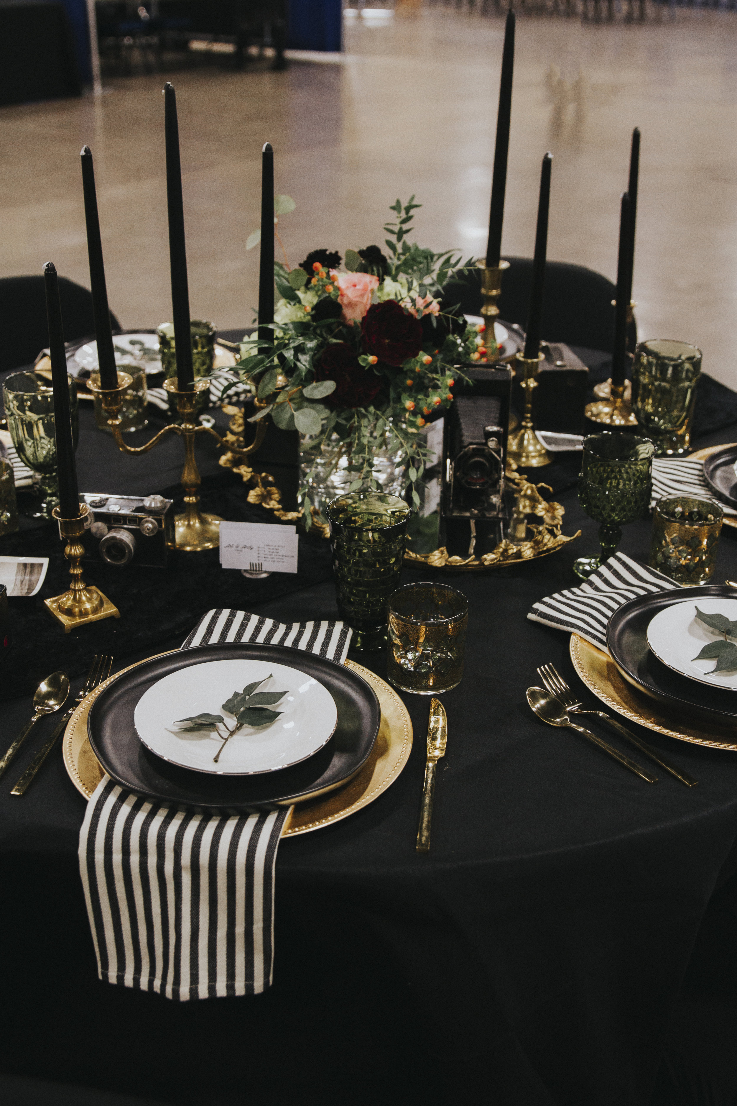 Moody - dark colors, clean lines, and pops of gold