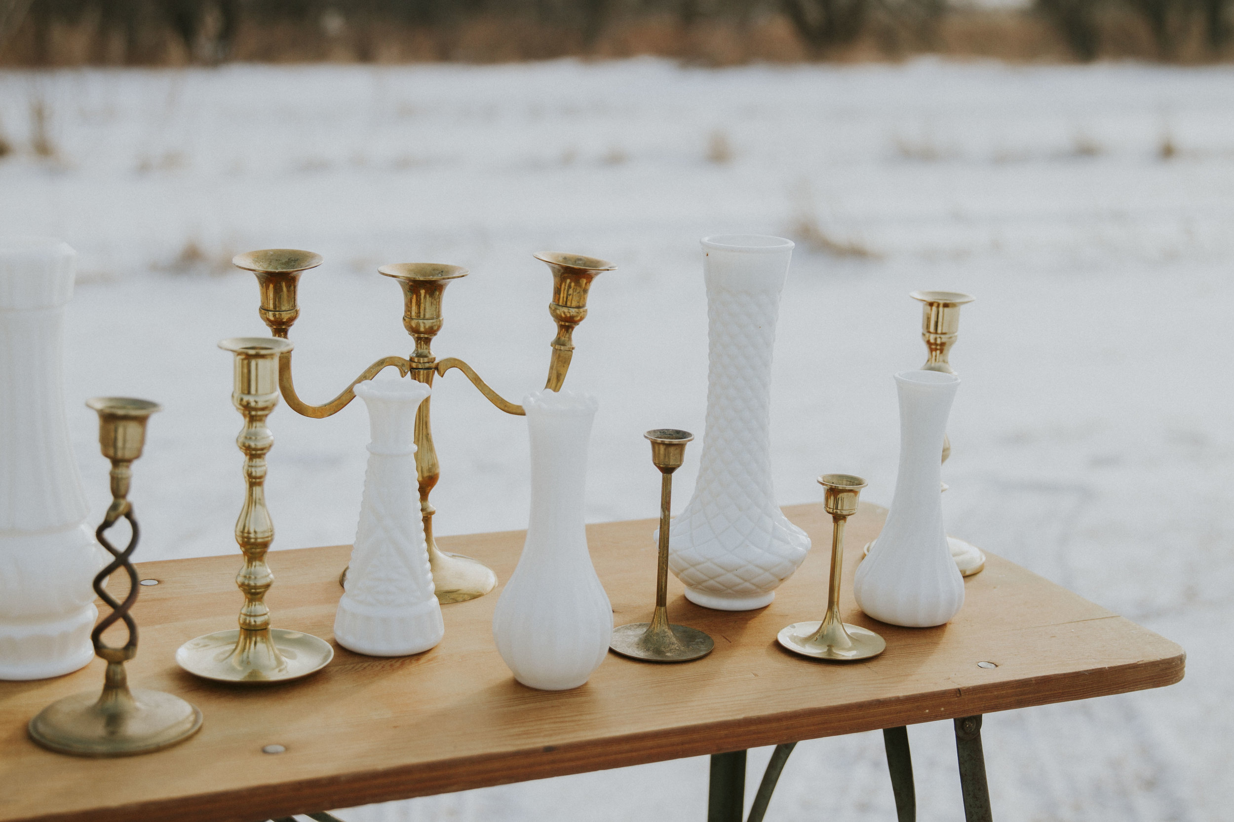 Gold Candlesticks & Milk Glass Vases