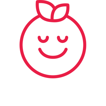 Icon of a piece a fruit with a happy and content smiling face on it