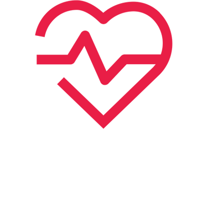 Icon of a heart shape with a heart rate monitor line running through it to suggest health
