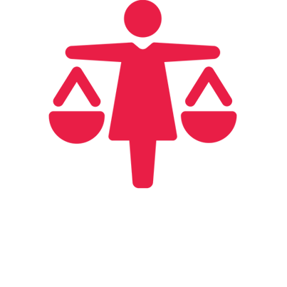 Icon of a person wearing a dress with arms outstretched, balancing scales.