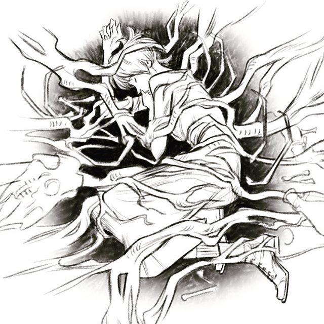 A wip #art #artistsoninstagram #sketch #illustration #workinprogress #bones #magic