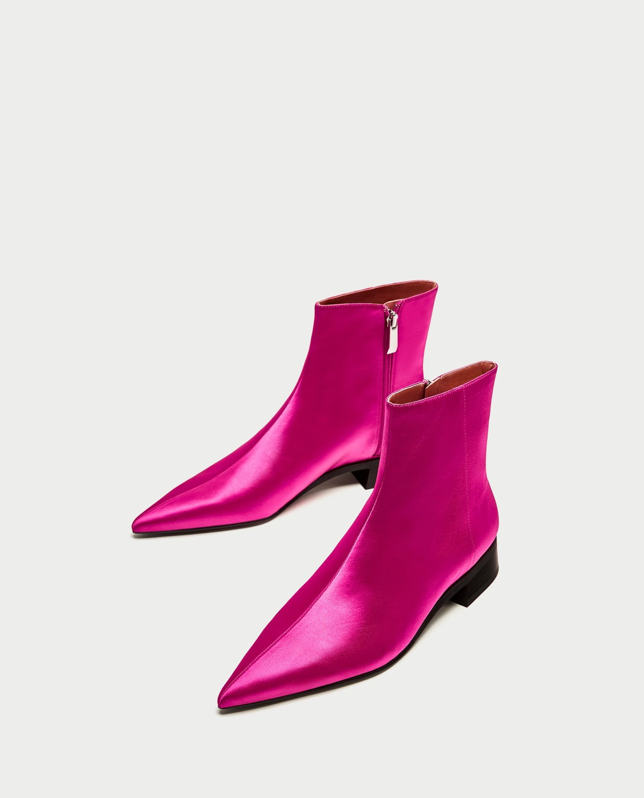 PINK SATEEN BOOTS