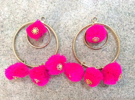 Etsy Hoop + Pompom Earrings