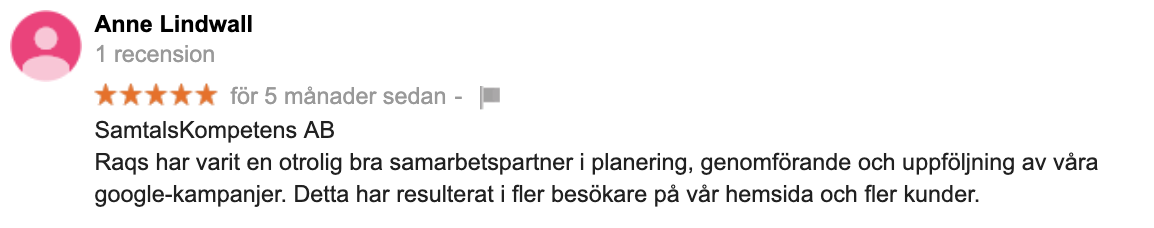 Recension av en nöjd kund på Google reviews kan boosta din landningssida