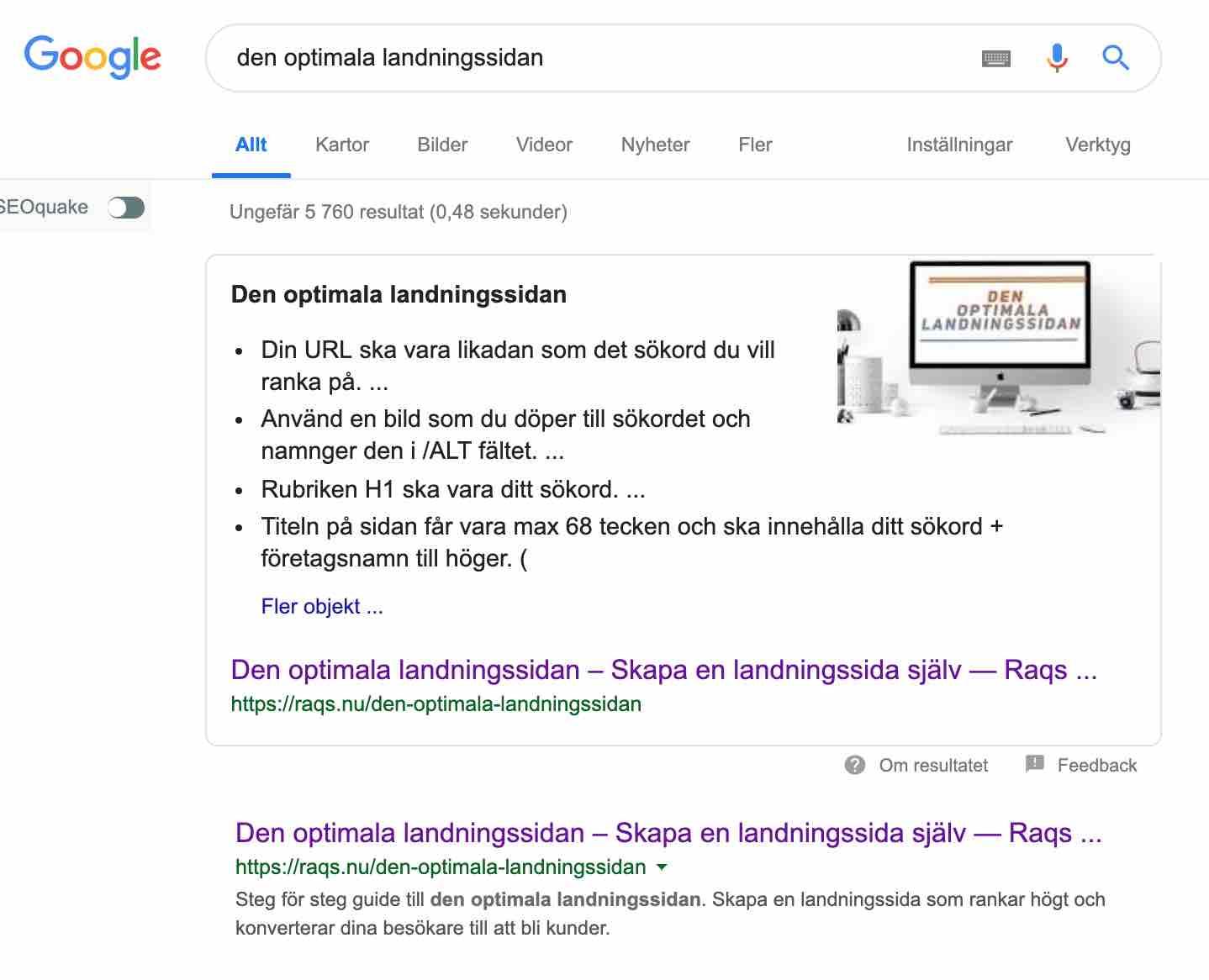 """Googles sökresultat om du gör landningssidan rätt. En sk featured snippet på sökningen """"Den optimala landningssidan"""""""