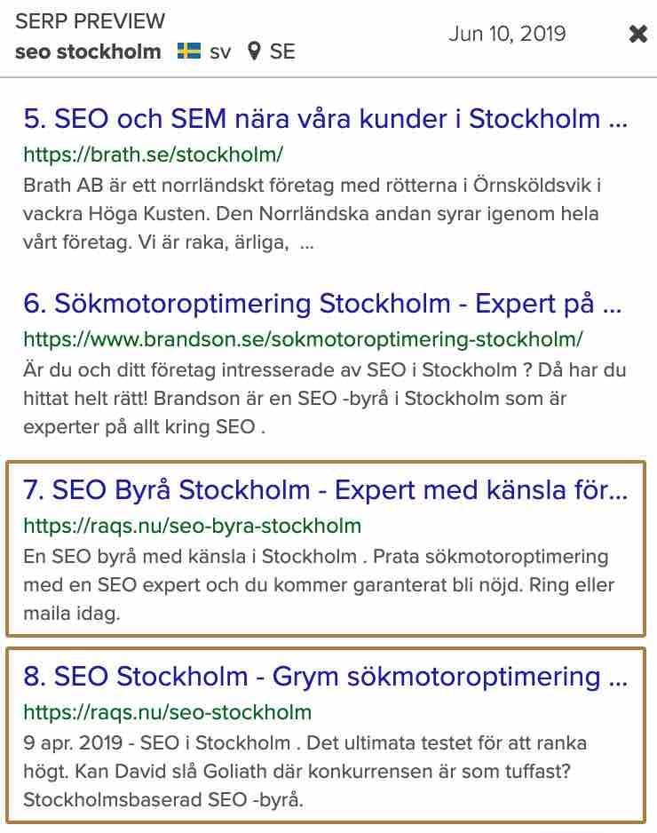 """Sökresultat på """"Seo Stockholm"""" 190610"""