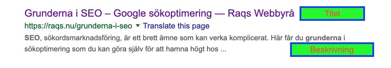 Titeln och beskrivningen på Googles sökresultat