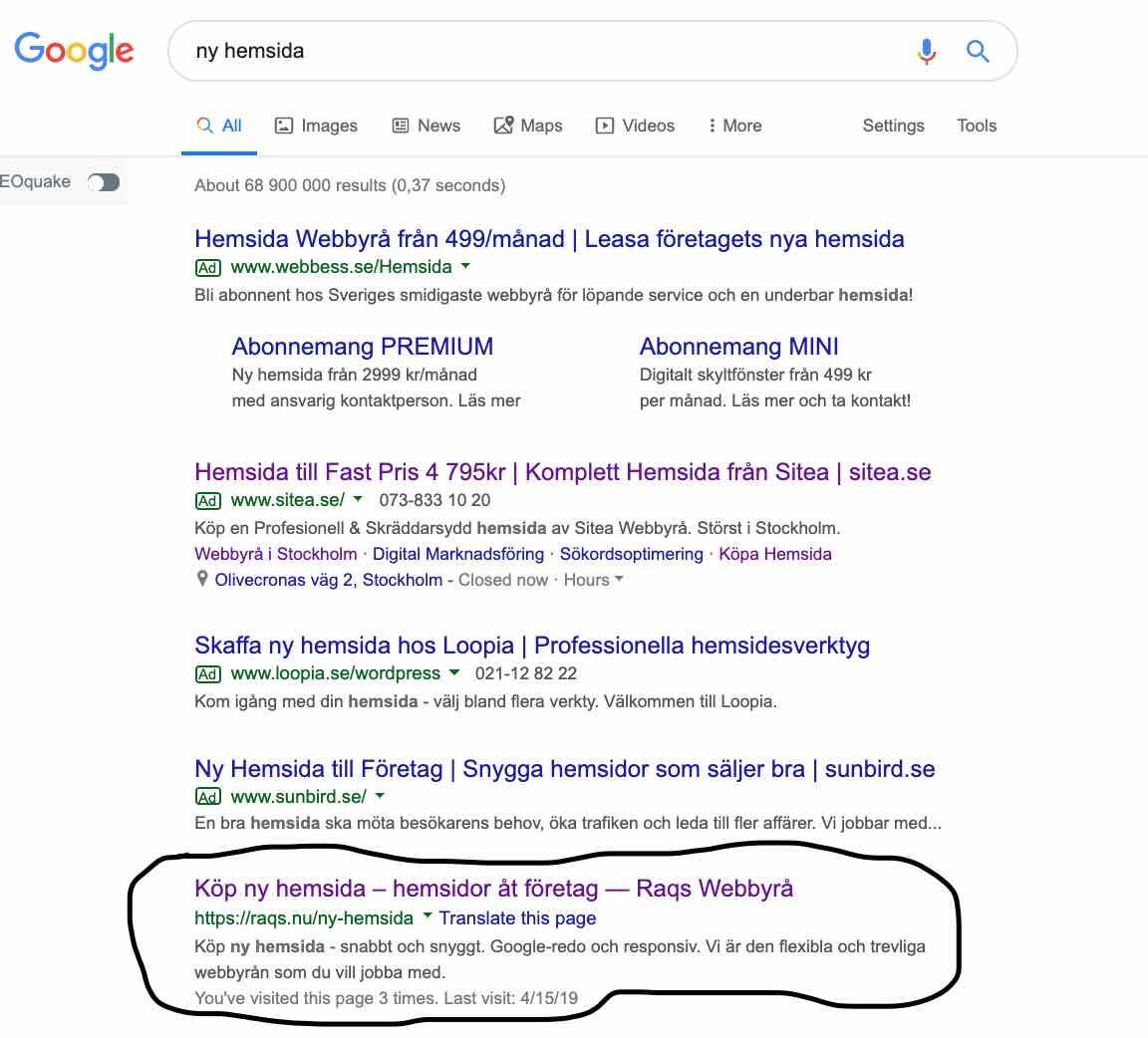 """Vi på Raqs webbyrå rankar högst på söktermen """"Ny hemsida"""""""