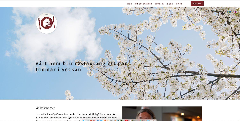 David at home - Hemsida på engelska och svenskaSociala kanaler syns tydligtYtterligare människor äter gott hemma hos David