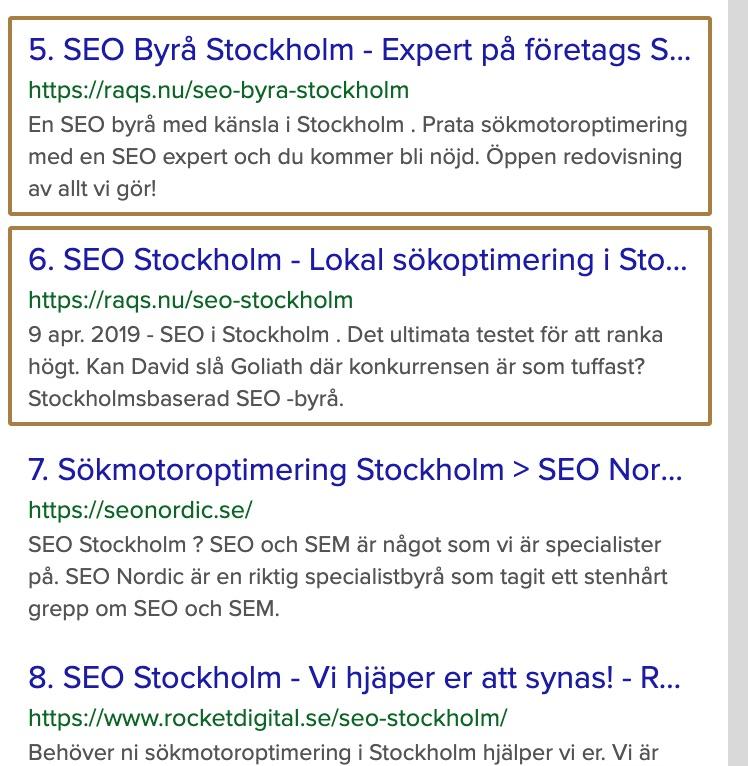 Placering över söktermen SEO Stockholm 190909.