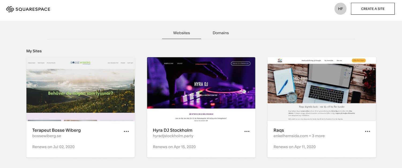 Så här kommer det se ut när ni loggar in i Squarespace. Då kan ni välja vilken hemsida ni vill jobba i.
