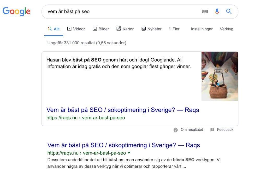 Målet uppnått 191023. Hasan fick en featured snippet av Google. Vissa dagar är det oerhört skoj att jobba med SEO. 😎
