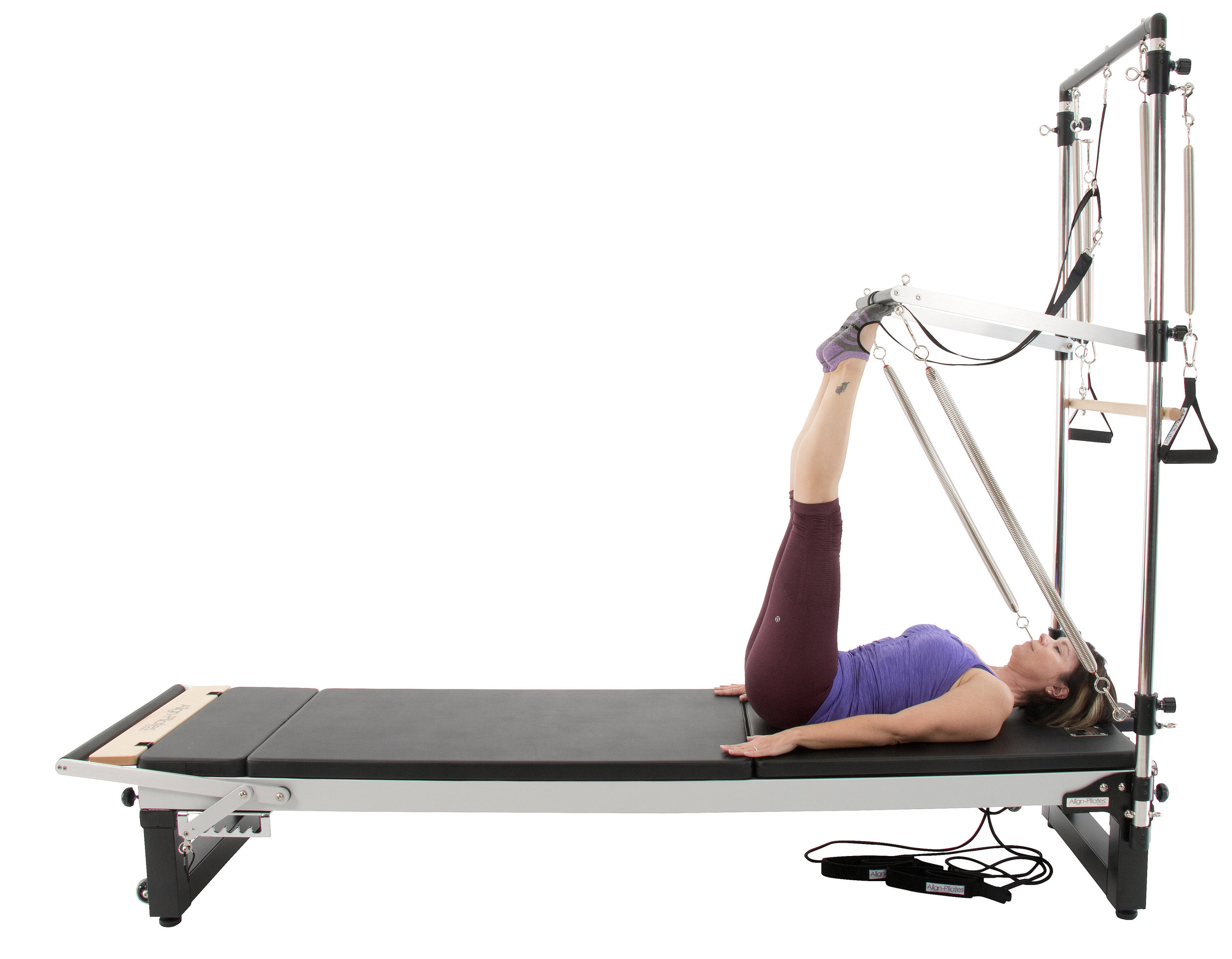 Align A2R2 studio pilates reformer with extension legs and half trap