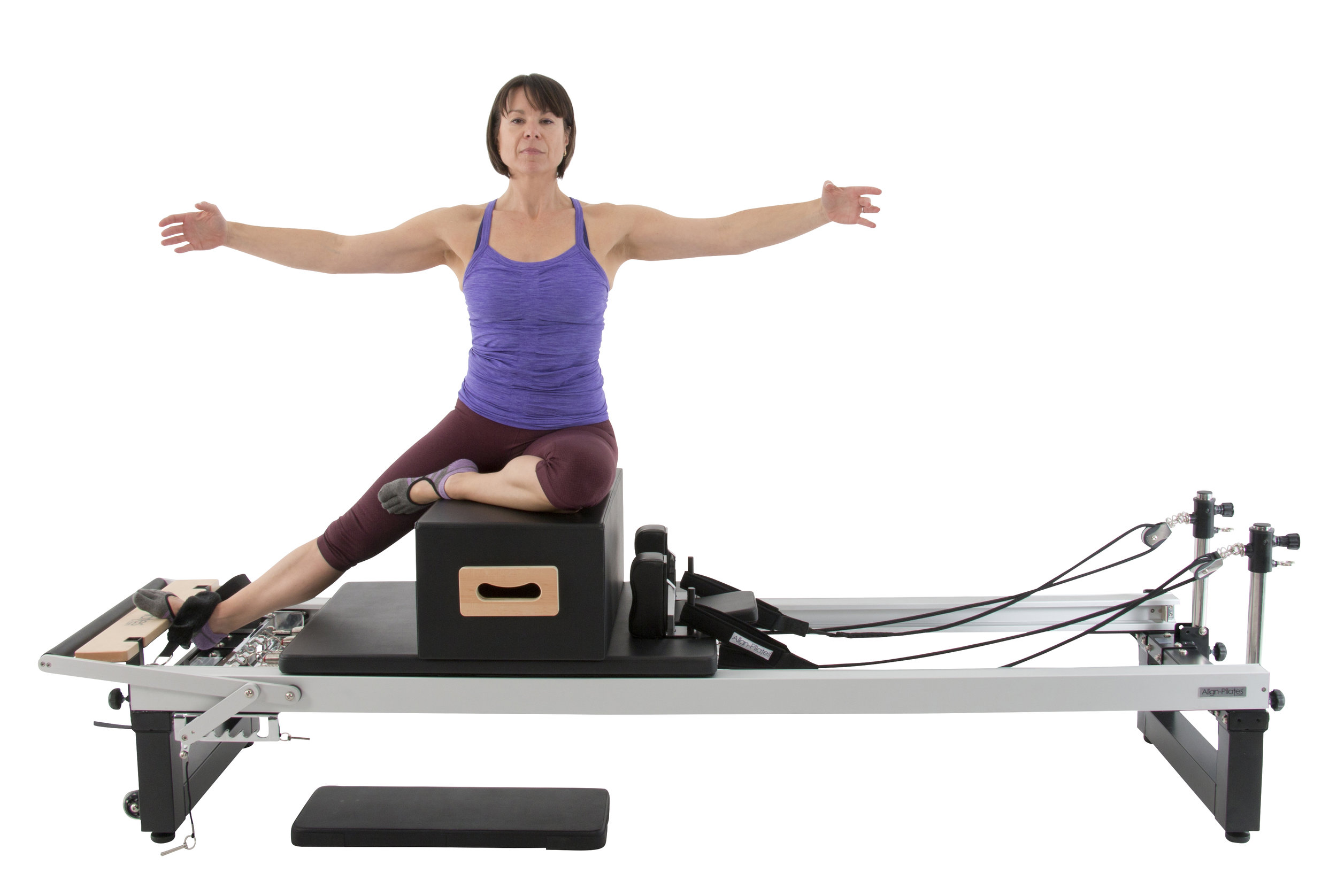 Align A2R2 studio pilates reformer with extension legs and pro sitting box