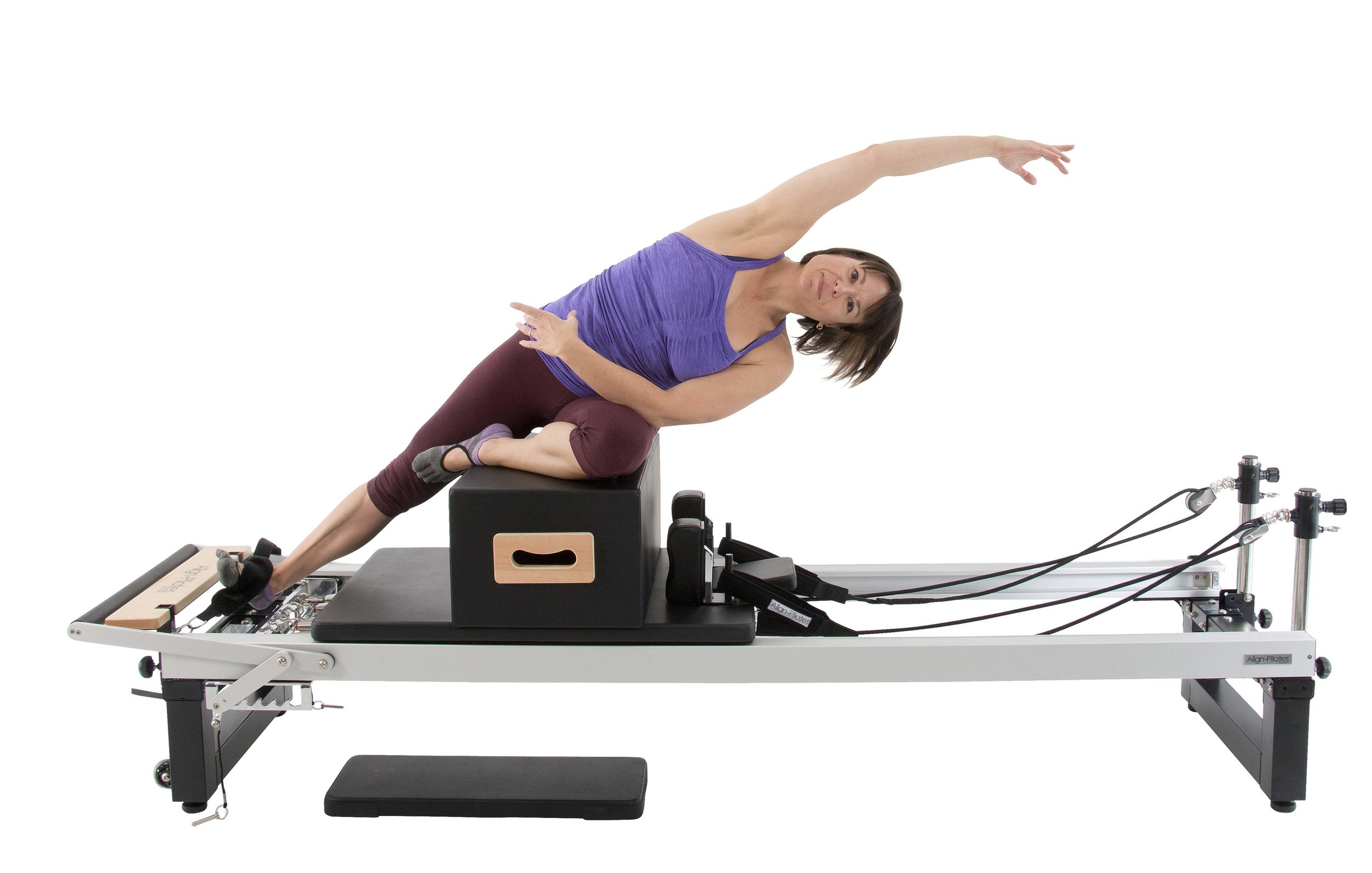 Align A2R2 studio pilates reformer with pro sitting box