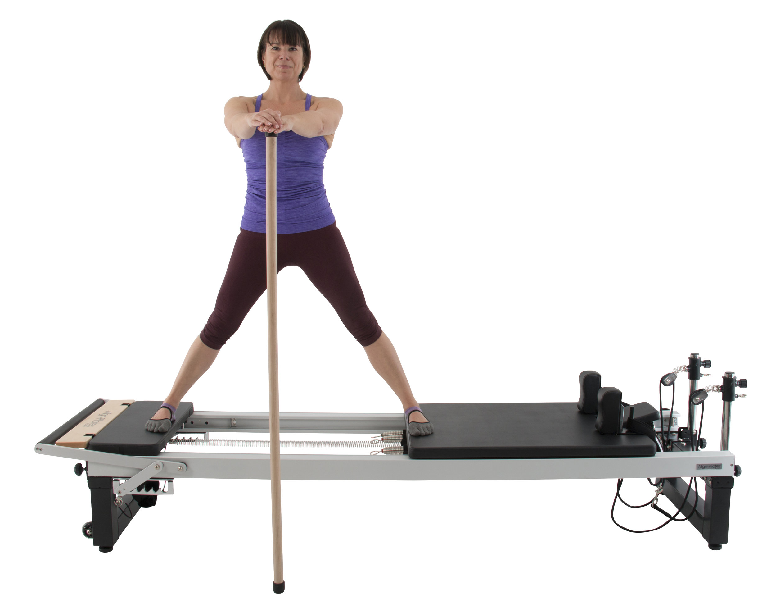 Align A2R2 studio pilates reformer with extension legs and maple pole