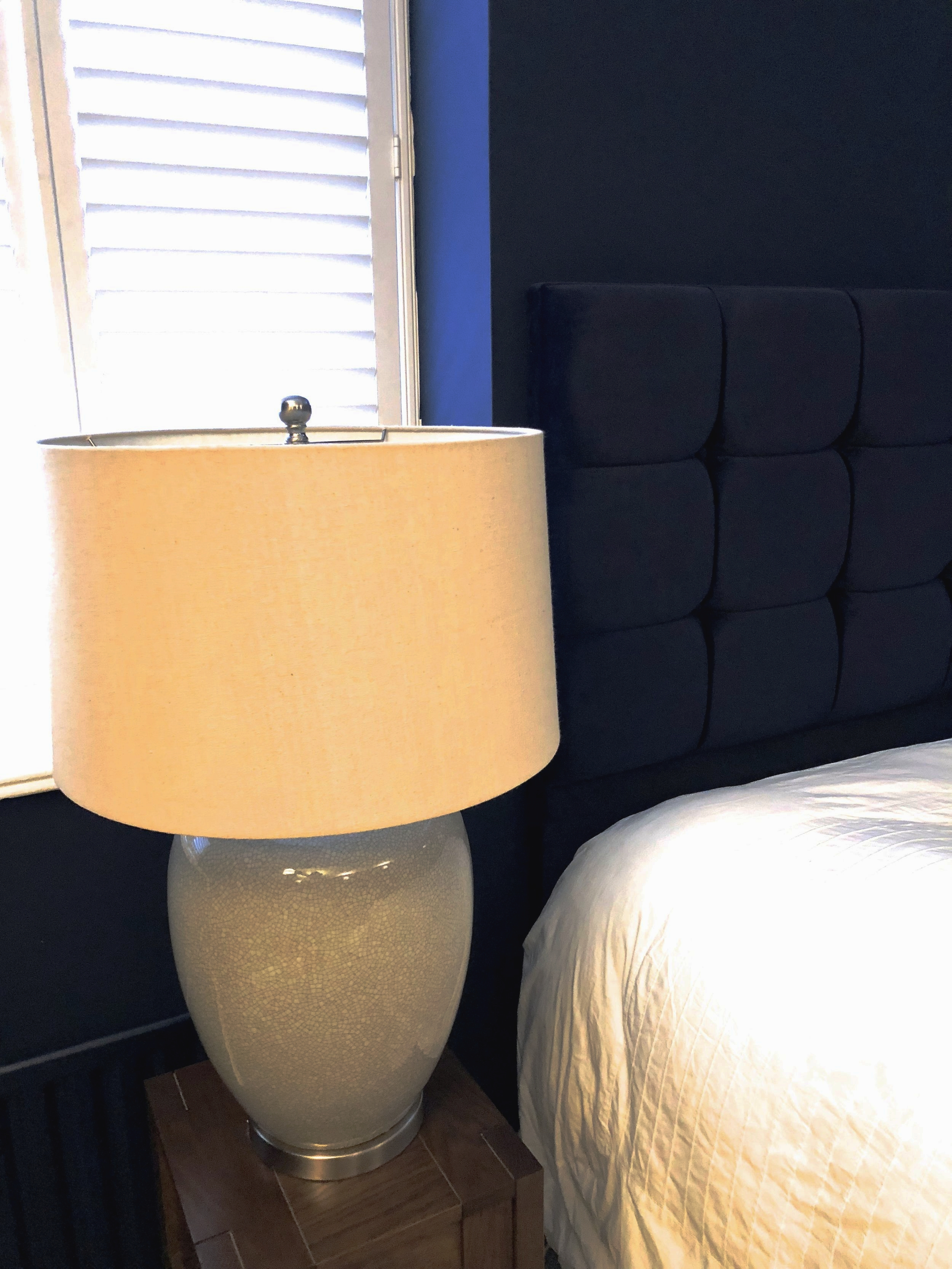 Table lamps in grey ceramic with white shade, please enquire within.